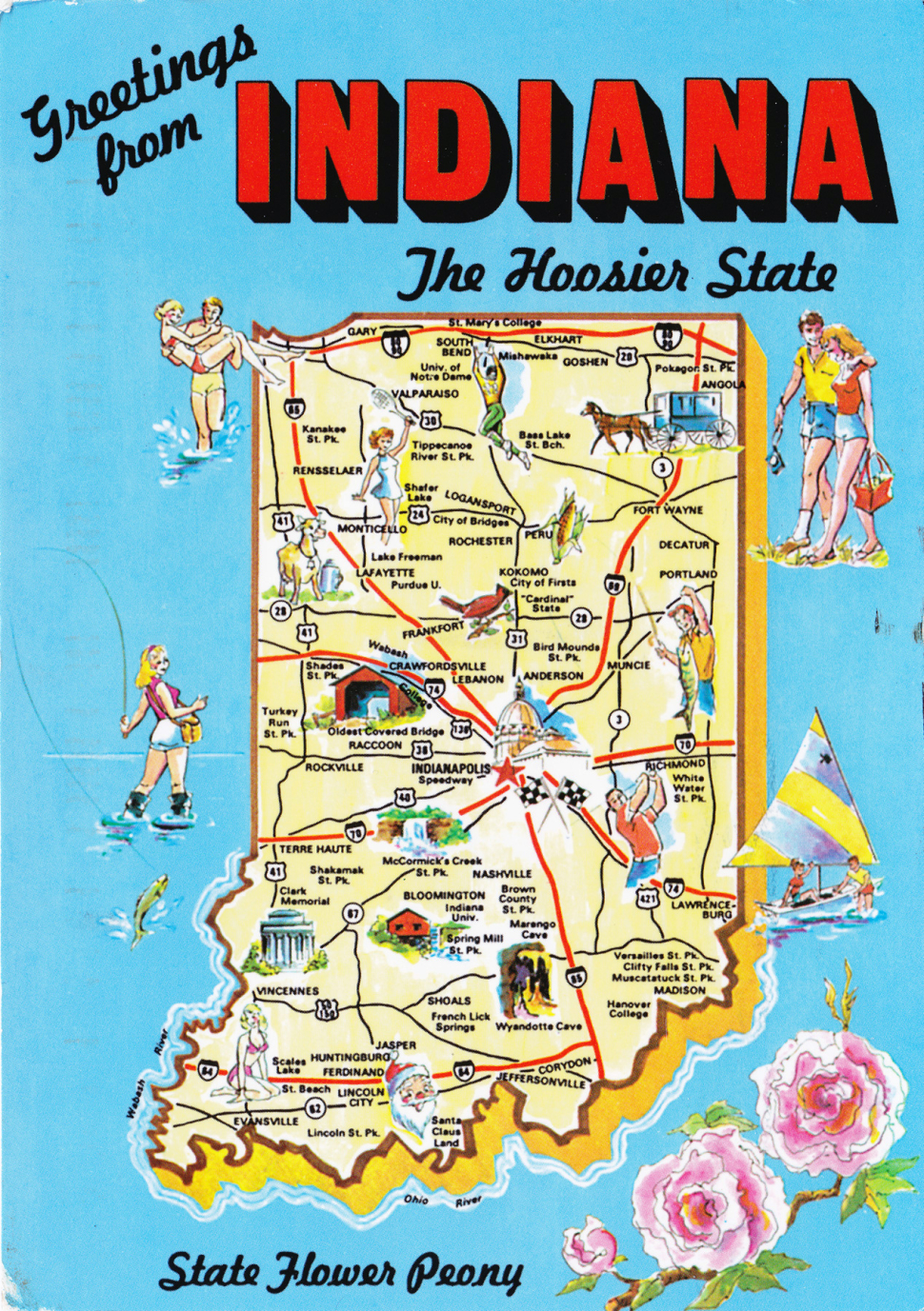 Tourism map of Indiana, for Holly Day's poems.